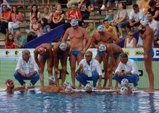 Włoska waterpolo drużyna słucha strategię Obraz Stock