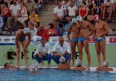 Włoska waterpolo drużyna w przerwie Obrazy Royalty Free