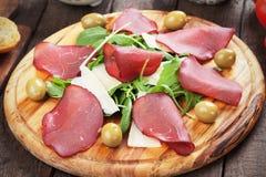 Włoski bresaola leczący wołowiny mięso fotografia stock