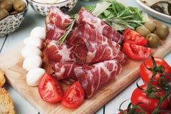 Włoski capicola, leczący wieprzowiny mięso fotografia royalty free