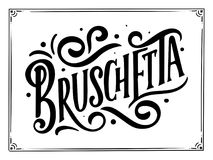 Włoski karmowy menu - imiona naczynie Piszący list zwrot dla twój projekta, stylizowany rysunek, ręka rysujący skład Fotografia Royalty Free