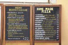Włoski Karmowy pizzy restauraci menu zdjęcia stock