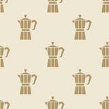 Włoski kawowego producenta moca wzoru płytki tło bezszwowy royalty ilustracja