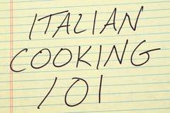 Włoski kucharstwo 101 Na Żółtym Legalnym ochraniaczu Zdjęcie Stock