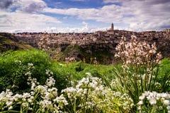 Włoski miasteczko Matera z swój odrębnym dziedzictwem kulturowym w wiośnie Fotografia Stock