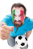 Włoski piłki nożnej fan jest szczęśliwy i z podnieceniem Fotografia Stock