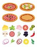 Włoski pizza przepis Kulinarna pizza z składnikami na białym tle Zdjęcia Royalty Free