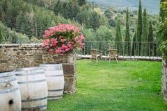 Włoski podwórze z malowniczym widokiem w małej wiosce średniowieczny początek Volpaia, Tuscany, Włochy obraz stock
