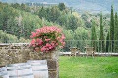 Włoski podwórze z malowniczym widokiem w małej wiosce średniowieczny początek Volpaia, Tuscany, Włochy zdjęcie royalty free