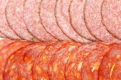 Włoski salami lub hiszpański chorizo na białym tle Zdjęcie Royalty Free