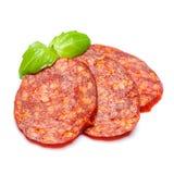 Włoski salami lub hiszpański chorizo na białym tle Fotografia Stock