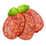 Włoski salami lub hiszpański chorizo na białym tle Fotografia Royalty Free