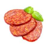 Włoski salami lub hiszpański chorizo na białym tle Obrazy Royalty Free