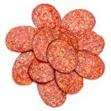 Włoski salami lub hiszpański chorizo na białym tle Zdjęcia Stock