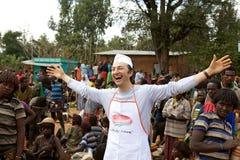 Afrykanina targowy i włoski sprzedawca Zdjęcie Stock