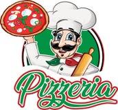 Włoski szefa kuchni emblemat z pizzy margherita royalty ilustracja