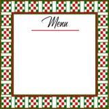 Włoski tło menu z czerwienią, zieleń, biała w kratkę granica ilustracji