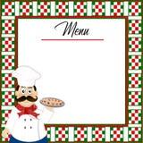 Włoski tło menu z w kratkę granicą i szefa kuchni mienia pizzą czerwieni, zieleni, białej, troszkę ilustracji