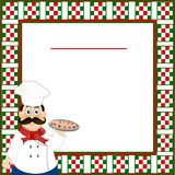 Włoski tło menu z w kratkę granicą i Włoskim szefem kuchni czerwieni, zieleni, białej, troszkę ilustracji