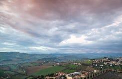 Włoski wieś krajobraz Prowincja Fermo Zdjęcia Royalty Free