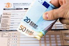 Włoski zwrot podatku dzwoniący 730 obraz royalty free