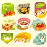 Włoskie jedzenie etykietki Ustawiać ilustracji