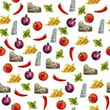 Włoskiej kuchni akwareli bezszwowy deseniowy tło Zdjęcia Royalty Free