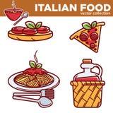 Włoskiej kuchni tradycyjny jedzenie rozdaje karmową pizzę, makaron, wektorowe restauracyjne płaskie ikony Zdjęcie Stock