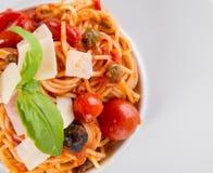 włoskiej odosobnionej makaron ścieżki white pomidorowego zdjęcie stock