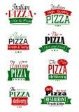 Włoskiej pizzy kolorowe etykietki i znaki ilustracji