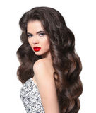 włosy falisty Piękny panny młodej brunetki młodej kobiety model z healt Obrazy Stock