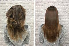 Włosy przed i po traktowaniem zdjęcia stock