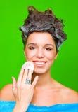 włosy szampon jej kobieta zdjęcie stock
