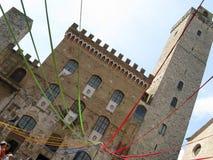 Włoszczyzna kwadrat podczas średniowiecznego festiwalu zdjęcie stock