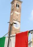 Włoszczyzny flaga i palladian bazylika w Vicenza Europe Włochy Obraz Royalty Free