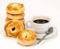 Włoszczyzny Taralli kawa espresso i pączek Zdjęcia Royalty Free