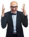 Wściekły łysy biznesowy mężczyzna Fotografia Royalty Free