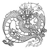 Wściekły Azjatycki smoka czerni kontur na bielu Zdjęcie Royalty Free