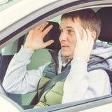 Wściekły i lekkomyślnie kierowca Niebezpieczeństwa napędowy pojęcie kwadrat Obrazy Royalty Free