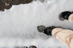 Wśliznąć na śnieżnej śliskiej drodze Obraz Royalty Free