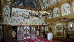 Wśrodku Barsana monasteru kościół w Marmures okręgu administracyjnym, Rumunia zdjęcie stock