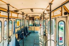 Wśrodku cabine stary tramwaj zdjęcia stock