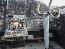 Wśrodku kokpitu rocznika mały dżetowy samolot Obraz Royalty Free