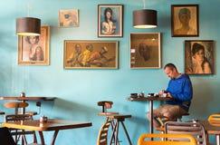 Wśrodku Kush sklep z kawą, Nelson, Nowa Zelandia Zdjęcia Stock