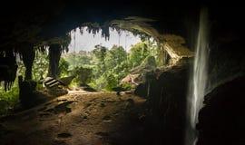 Wśrodku Niah Wielkiej jamy, przyglądającej w Niah parku narodowym out, Borneo, Sarawak, Malezja obraz stock
