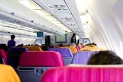 Wśrodku pasażerski airplan Fotografia Stock
