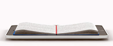 Wśrodku telefonu rozmieszczająca książka Ilustracji