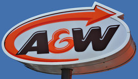 A&W的标志 免版税库存照片