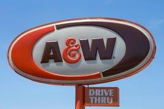 A & W驱动通过标志 库存照片