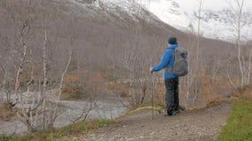 W średnim wieku mężczyzna podróżuje halną ścieżkę z plecakiem Zatrzymywał, patrzał wierzchołki góry i pójść dalej, zbiory